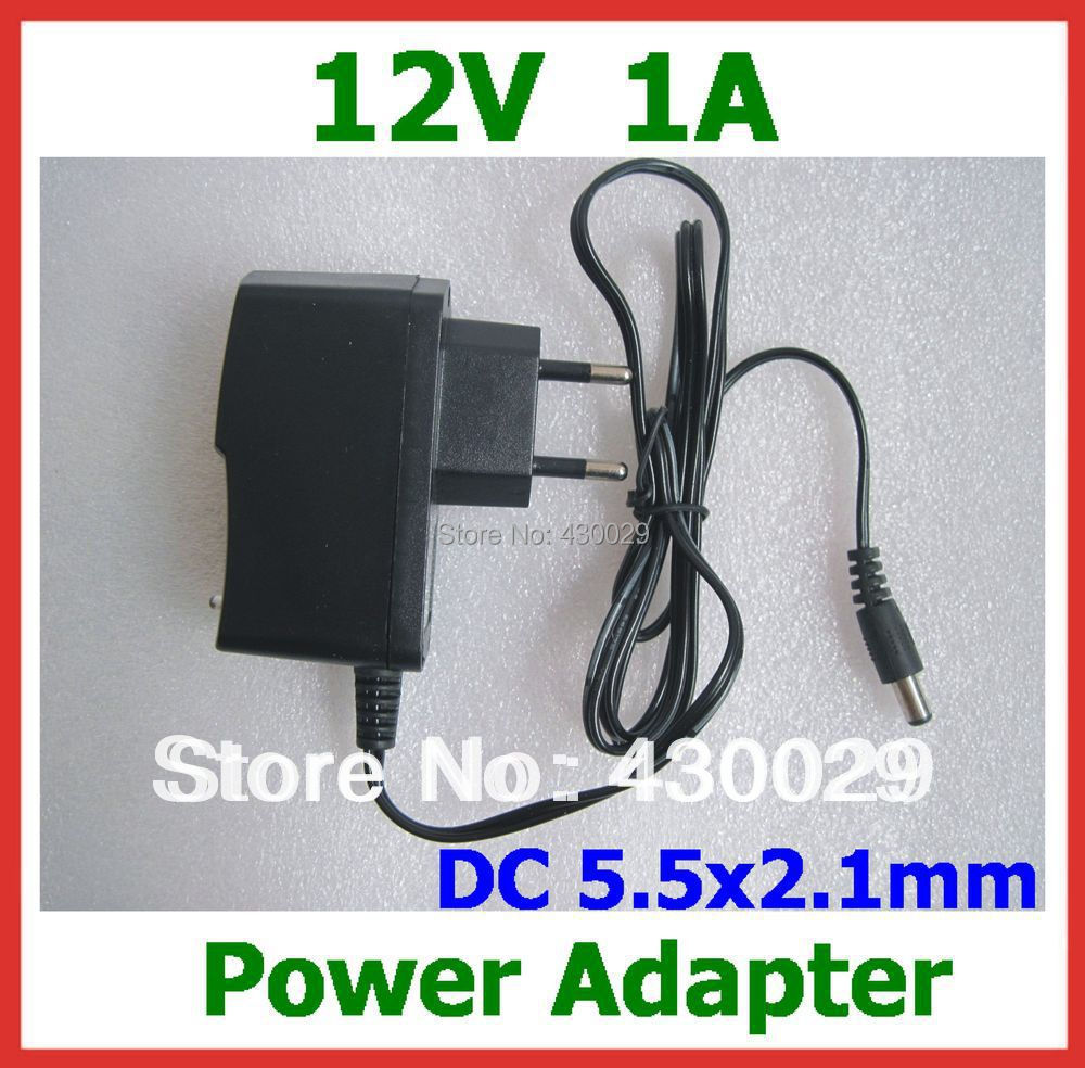 1pc AC 100-240V to DC 12V 1A 5.5x2.1mm Charger Power Adapter Supply EU Plug for CCTV Camera LED Strips Light(China (Mainland))