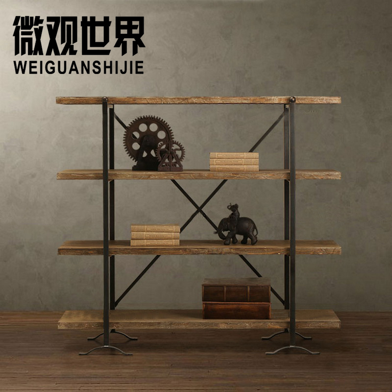 Microcosm LOFT American country furniture industry for the old style  antique iron wood bookcase shelf display ...