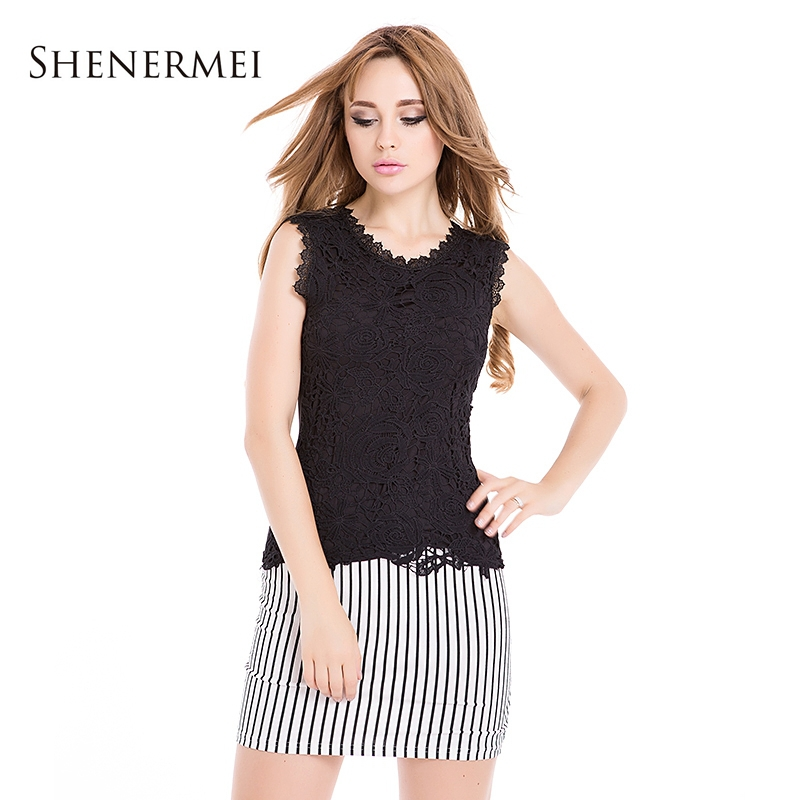 Blusas Femininas 2015 Fashion Tropical Women Blouses Sexy Lace Shirt Sleeveless Worsted Design Solid Pattern Female Party Blouse(China (Mainland))