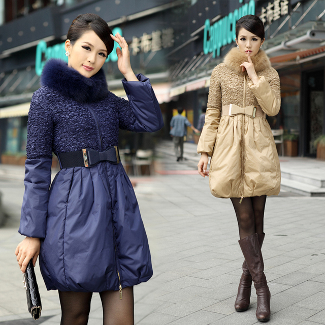 2013 winter new arrival thickening down coat fur collar women's plus size down coat medium-long style