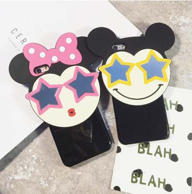 3D Cartoon Cute Fashion Mouse Case Cover For Apple iPhone 6 6S Case Silicone 6 Series Funny Star Case For Phone(China (Mainland))