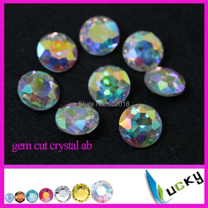 2015 New design 200pcs round shape gem cut crystal fancy rhinestones point back glass strass ab coating 10mm 12mm(China (Mainland))