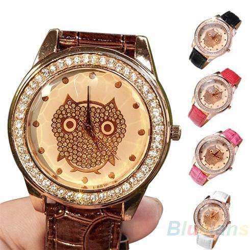 New Fashion Women Dress Girls Champagne Analog Owl Crystal Decorated Quartz Wrist Watch Gift Items 1NZT<br><br>Aliexpress