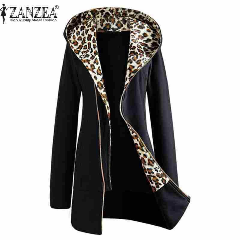 Plus Size M-XXL 2015 Autumn Winter Fashion Womens Leopard Pattern Zipper Up Hooded Coat Jacket Long Sleeve Outwear(China (Mainland))
