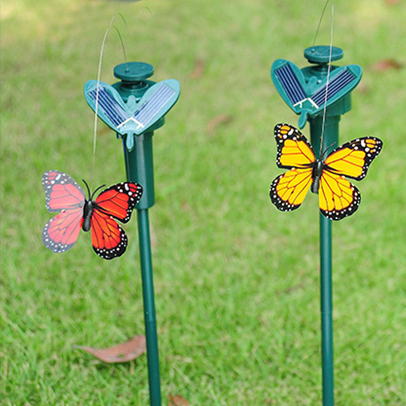 high quality Solar Powered Dancing Flying Fluttering Butterfly Garden Decoration Free Shipping NB0377(China (Mainland))