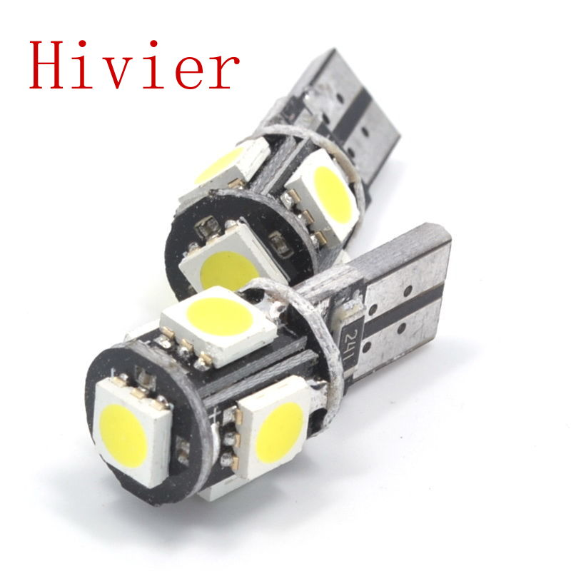 New White Blue 20pcs T10 5050 5SMD 5 SMD 1W Led Car Light Canbus W5w 194 Error Free DC 12V Bulbs High Quality Wholesale(China (Mainland))