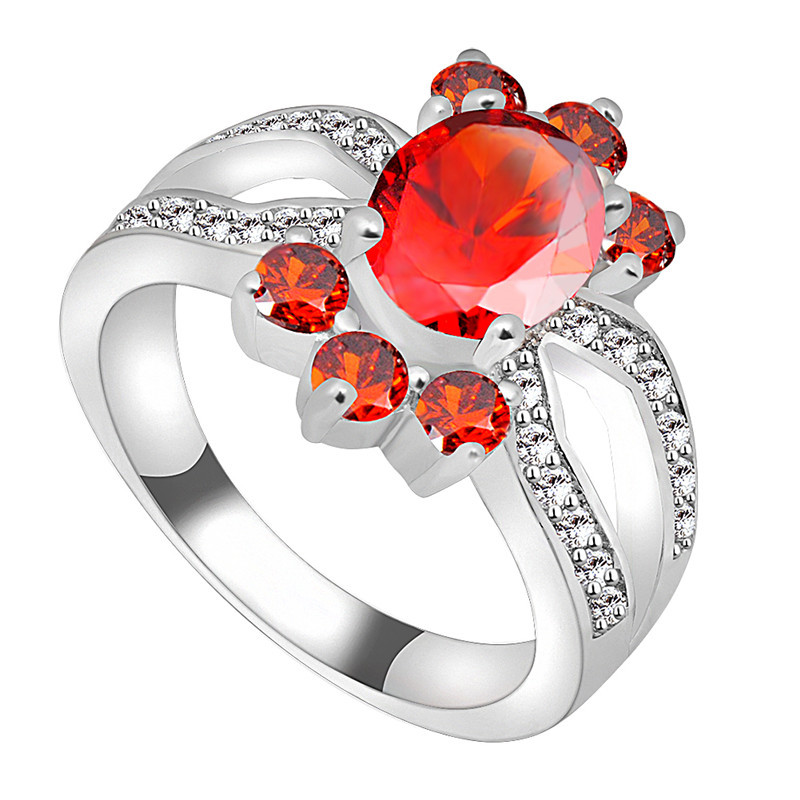 Fashion Finger Ruby Jewelry Sz6 7 8 9 10 Women Men Red CZ Wedding Ring Anel