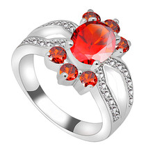 Fashion Finger Ruby Jewelry Sz6/7/8/9/10 Women/Men Red CZ Wedding Ring Anel Aneis 10KT White Gold Filled Rings RW1078