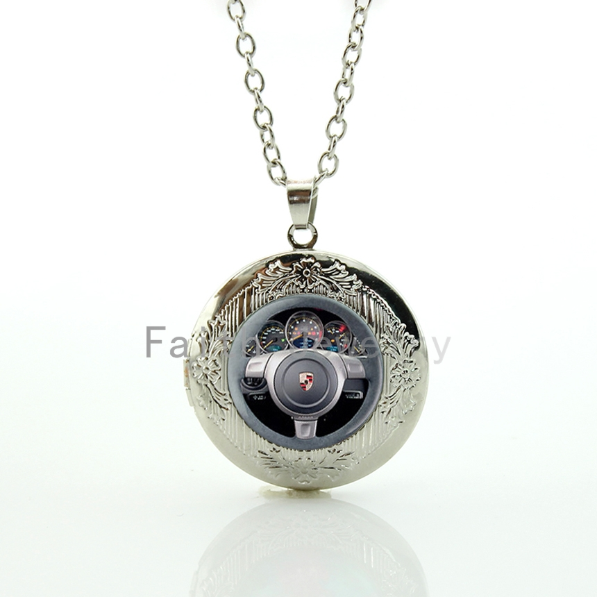 Cool gifts Luxury Cars Steering wheel image pendant necklace geekery men accessories new creative driver's locket jewelry HH264(China (Mainland))