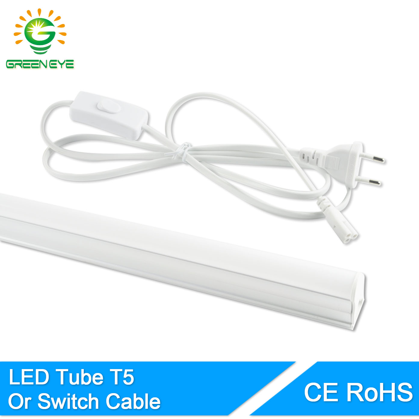 GreenEye EU Switch Cable Wire/Integrated LED Tube T5 Light 220v 240v 300mm 6w 600mm 10w Fluorescent T5 LED Lamp Cold White Warm(China (Mainland))