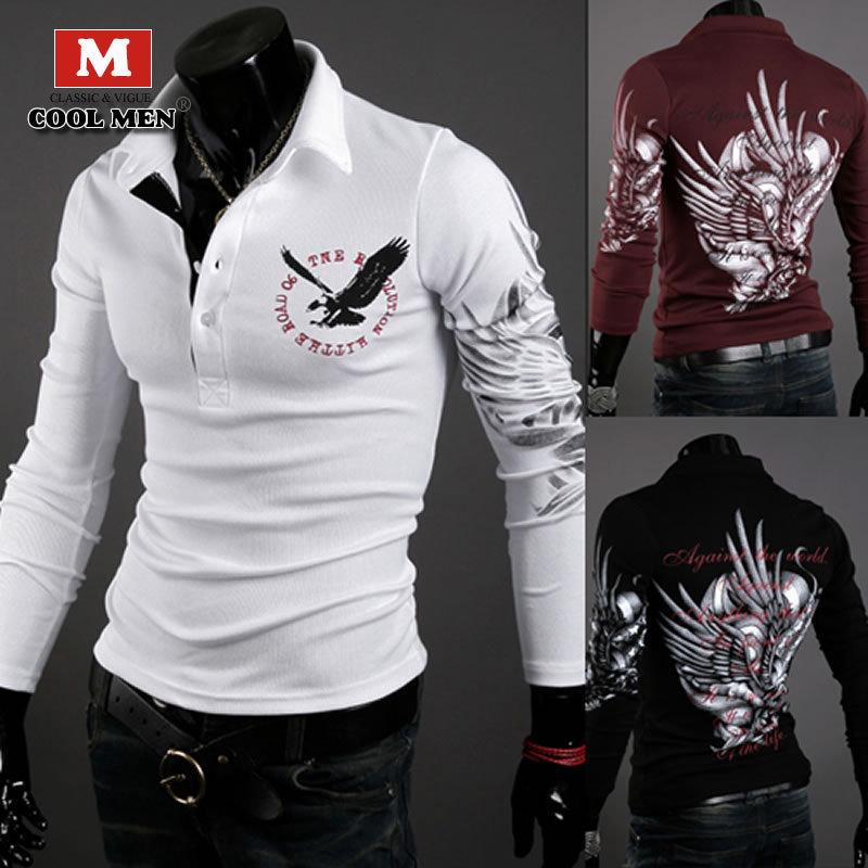 2015 New T-shirt Men Long Sleeve Hot Sale Fashion Slim Cotton T-shirt Famous Brand T-shirt For Men High Quality Men Shirt 011(China (Mainland))