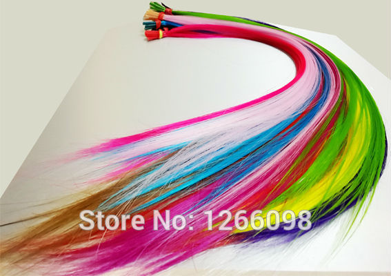 100pcs high quality non-trace hairpiece 16 inch Straight Solid color Hair Extension synthetic fake hair with free beads and hook