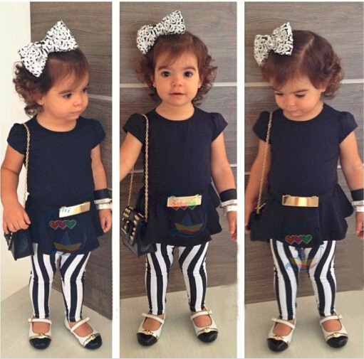 New 2015 Girls Dress + Striped Leggings with belt set Summer Children casual suit kids cotton fashion top wear 6set Hot Sale<br><br>Aliexpress