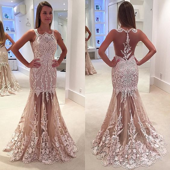 High Quality Pink Sweet Prom Dresses 2017 Sexy See Through Back Lace ...