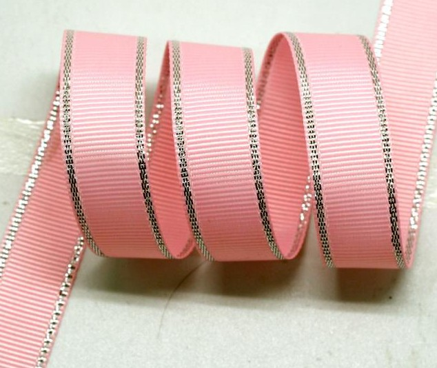 "3/8"" 9mm Polyester Silver Metallic Edge Grosgrain Ribbon Wired Ribbons With Metallic Edge DIY Accessories 100yards/color(China (Mainland))"