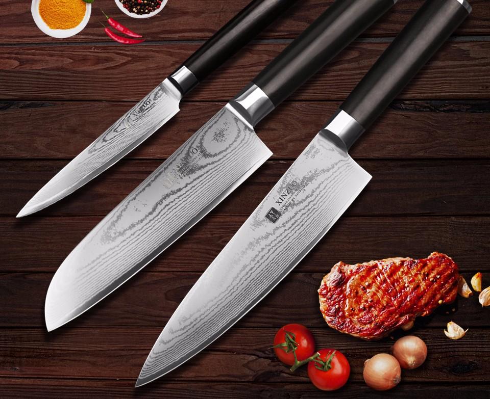 Buy XINZUO 3 pcs kitchen knife sets utility Santoku Damascus Chef knife 67 layers Japanese VG10 steel Kitchen Knife free shipping cheap