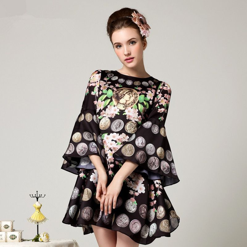 3XL High quality 2015 new runway spring vintage brand Roman coins Peach flower print flare sleeves A-line plus size dress 1774(China (Mainland))