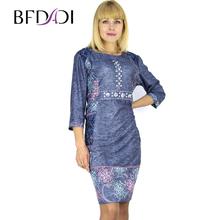 BFDADI 2016 летом модеое ретро отпечатано 3/4 рукав с о-образным шеи платье для женщин ажурными кружевами карманные платья XL-6XL большой размер плат...(China (Mainland))