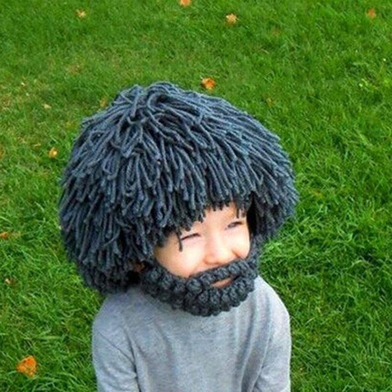2016 Novelty One Size Wig Beard Hats Handmade Knit Warm Winter Spring Caps Men Women Halloween Gift Funny Mask Beanies(China (Mainland))