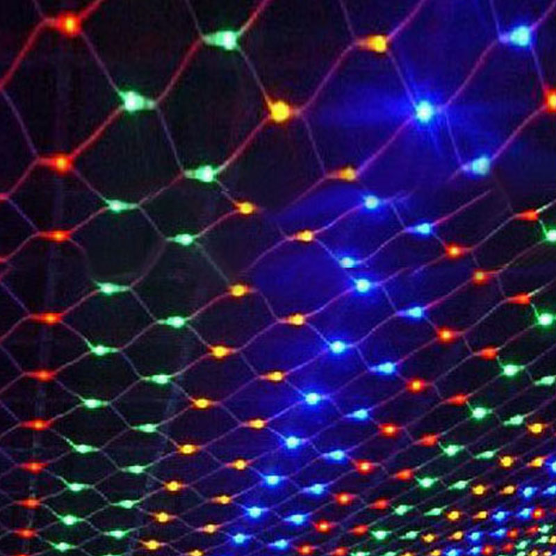 Hot Sale Multicolor 1.5M x 1.5M 96 LED Net String Fairy Light Xmas Christmas Wedding Party Holiday Outdoor Decoration Lamp 220V(China (Mainland))