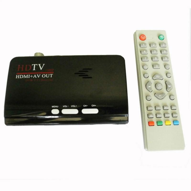 Digital Terrestrial HDMI DVB T T2 Protocol TV Box HDMI AV CVBS external TV Tuner Receiver With Remote Control for lcd monitor(China (Mainland))