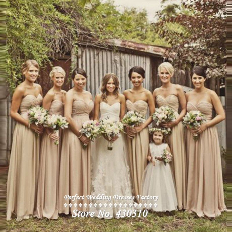 2016 New Arrival Cheap Long Gold Chiffon Bridesmaid Dresses Sexy A-line Bridesmaid Robes Strapless Vestidos De Novia LK042(China (Mainland))