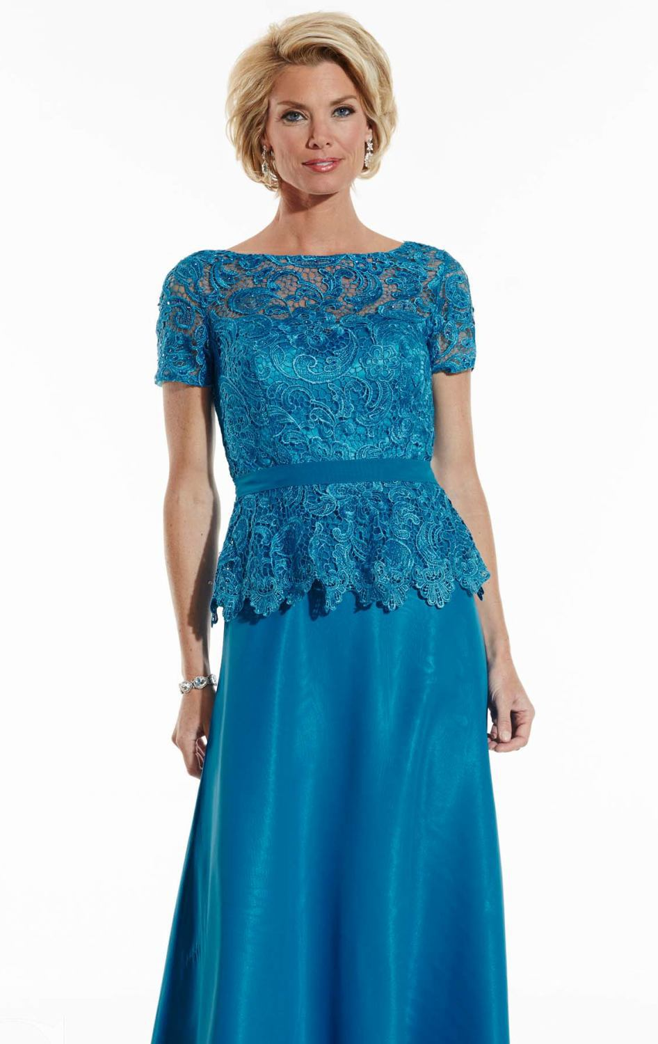 Elegant blue lace short sleeve plus size mother of the for Summer wedding mother of the bride dresses