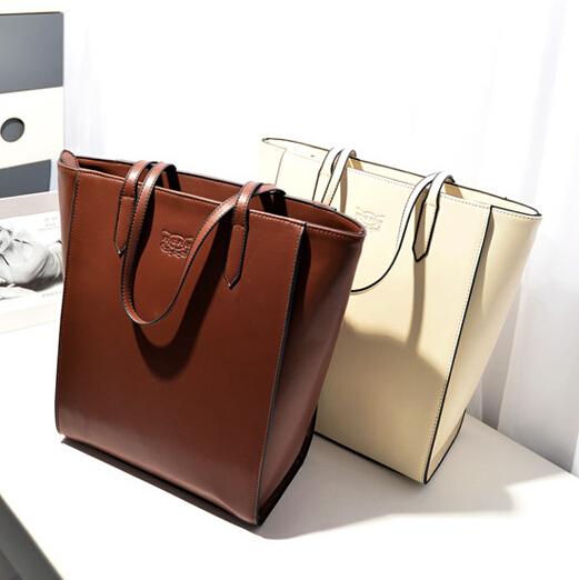 ETN BAG hot sale women handbag female big leather bag lady large tote shopper bag black beige brown fashionable big bag(China (Mainland))