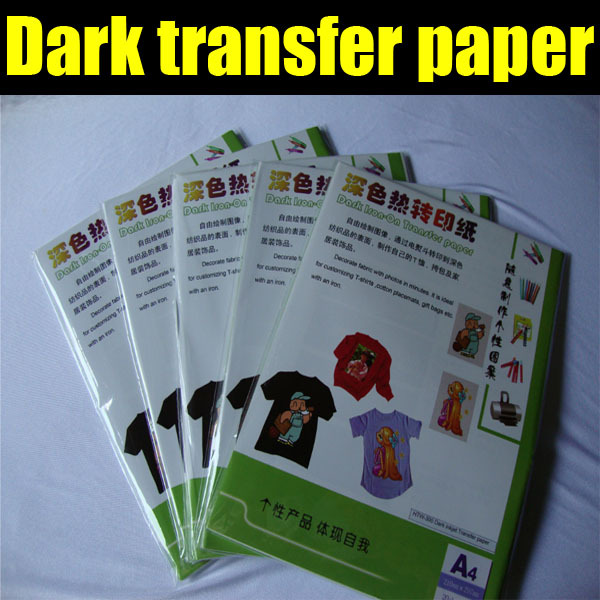 Dark transfer paper for T-Shirts with 100pcs/bag by free shipping, dark sublimation paper(China (Mainland))