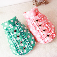 Buy Cute Polka Dot Small pet cat Dog cotton padded jacket coat Clothes pet Dog puppy Winter warm vest Clothing Chihuahua for $6.92 in AliExpress store