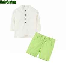 Baby boy summer clothes suits button thin solid baby kids boys children's set summer clothing kids outfits boys clothes(China (Mainland))