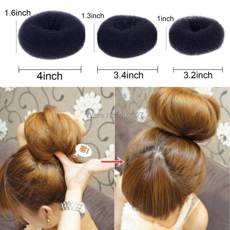 3Pcs/lot Black Color Size S M L 3 Different Sizes Maker Former Twist Tool Hair Styling Donut Magic Sponge Bun Ring(China (Mainland))