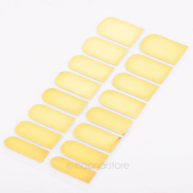 16Pcs/Sheet Metallic Nail Sticker Foil Set Nail Art Sticker Gel Nail Patch Manicure Set Cool 3 Color Golden Black Silver *41(China (Mainland))
