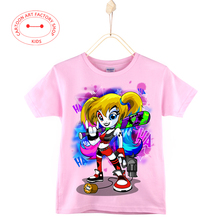 Cartoon art clothes Harley Quinn kids  t-shirts 100% cotton Short sleeve t shirt girls tops tees Children white/pink/blue 3-15Y