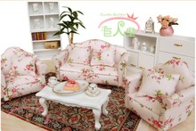iland 1:12 Dollhouse Miniature Living Room Furniture Sofa Set 4 Couch Flower(China (Mainland))