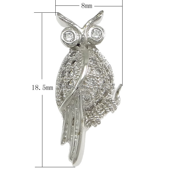 Free shipping!!!Cubic Zirconia Micro Pave Sterling Silver Pendant,Women Jewelry, 925 Sterling Silver, Owl<br><br>Aliexpress