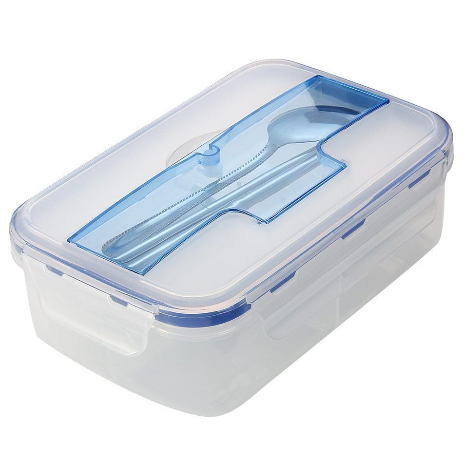 Hot Selling Modern Ecofriendly Outdoor Portable Microwave Lunch Box With Soup Bowl Chopsticks Spoon Food Containers 1000mL(China (Mainland))
