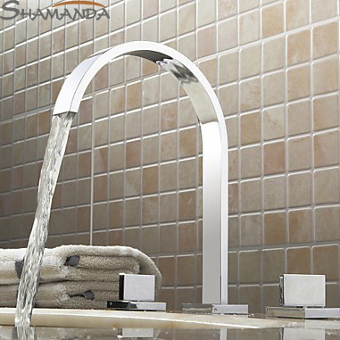 Free Shipping-Bathroom Products Solid Brass Chrome Finished 3 Pcs Faucet Set 2 Handles Sink Basin Faucet, Basin Mixer Tap-2406