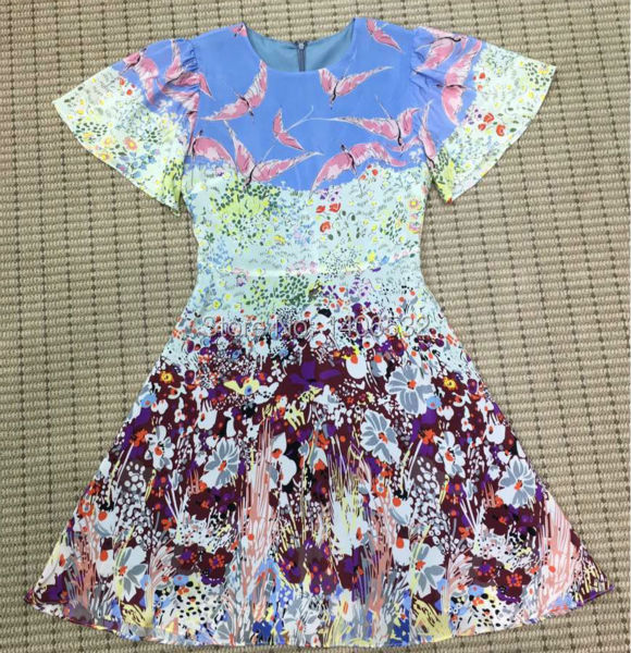 Summer Silk Dress Flower Printed 2016 Famous Brand Runway Silk Dress WomenОдежда и ак�е��уары<br><br><br>Aliexpress