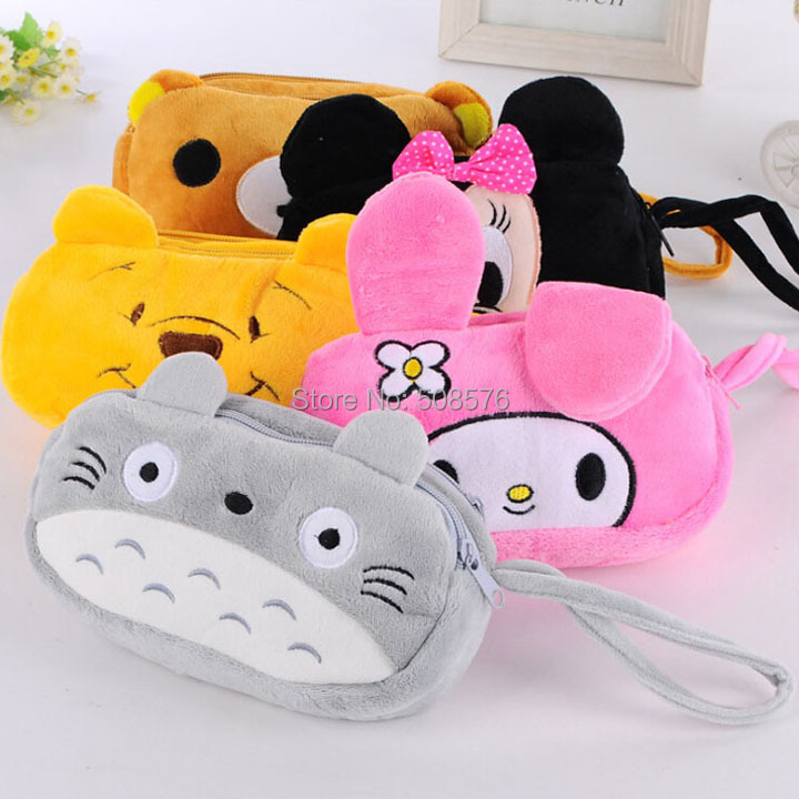 2015 New Arrival Cute Totoro Dog Rabbit Plush Pen Bag Lovely 3D Cartoon Animal Makeup Pouch Coin Purse Wallet Bags 12pcs/lot <br><br>Aliexpress