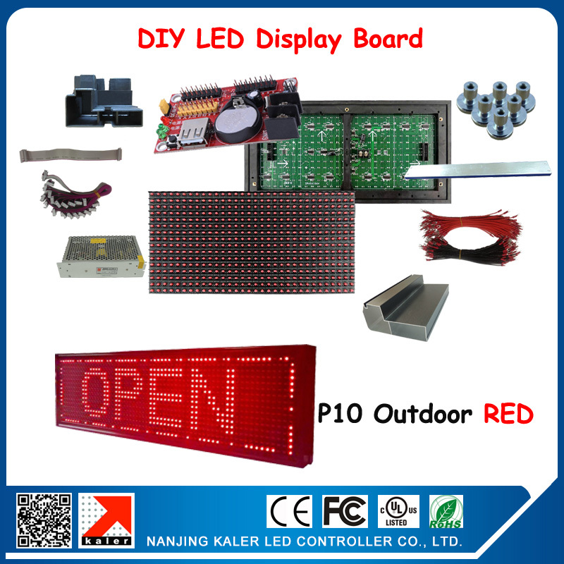2pcs P10 outdoor red led display modules with led display control card, power, data cable diy led display sign board(China (Mainland))
