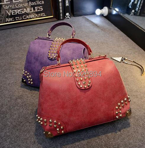 Personality rivet punk fashion casual candy color lady handbag cross body messenger bag shoulder bag free shipping 4 colors