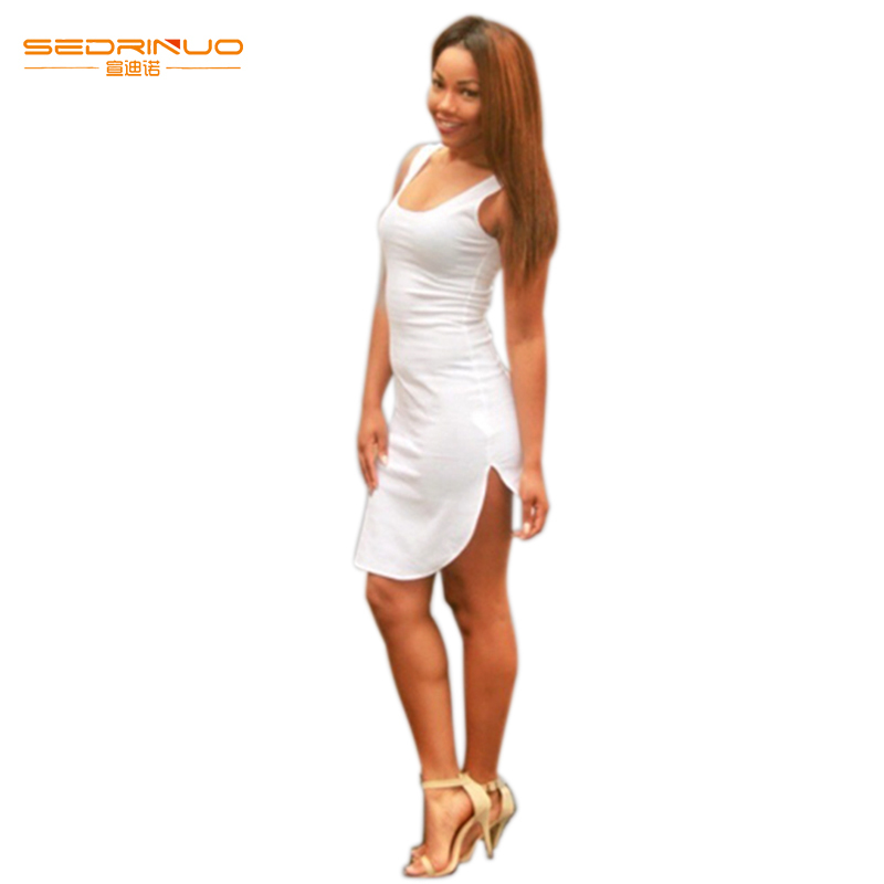 2015 Summer New Sexy Women Thin Spaghetti Strap Super Mini Cotton White Bottoming Summer Dress for free shipping(China (Mainland))