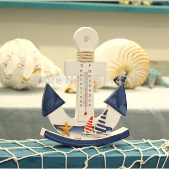 Mediterranean Style Home Decoration Marine Swing Thermometer Furnishings  Creative Nautical Anchors Decorations Wood Crafts