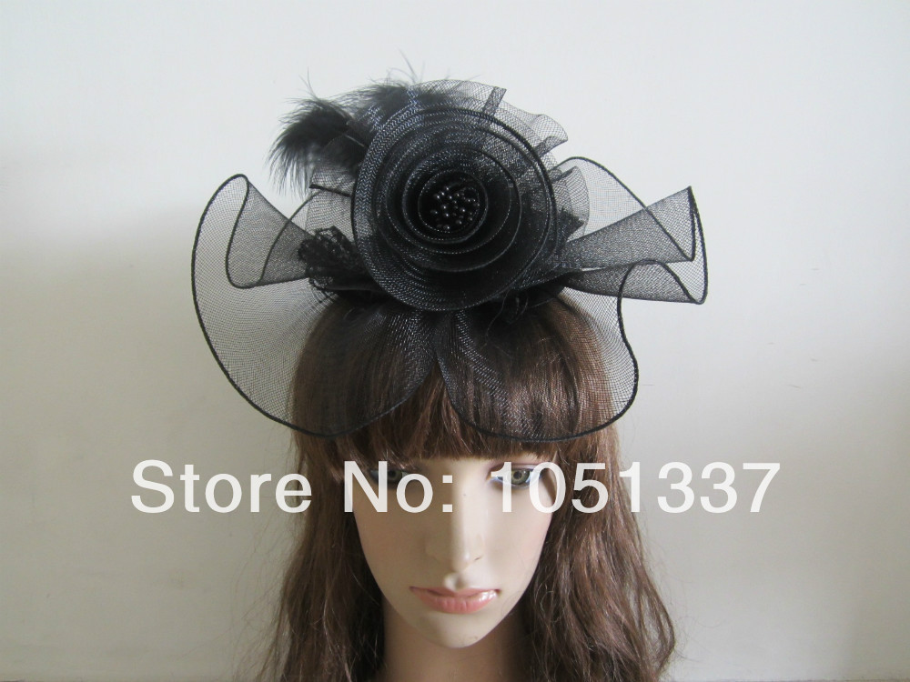 NEW STYLE!!! Fantastic BLACK Feathers Fascinator Hair Fascinators Top Hat with Black Lace(China (Mainland))