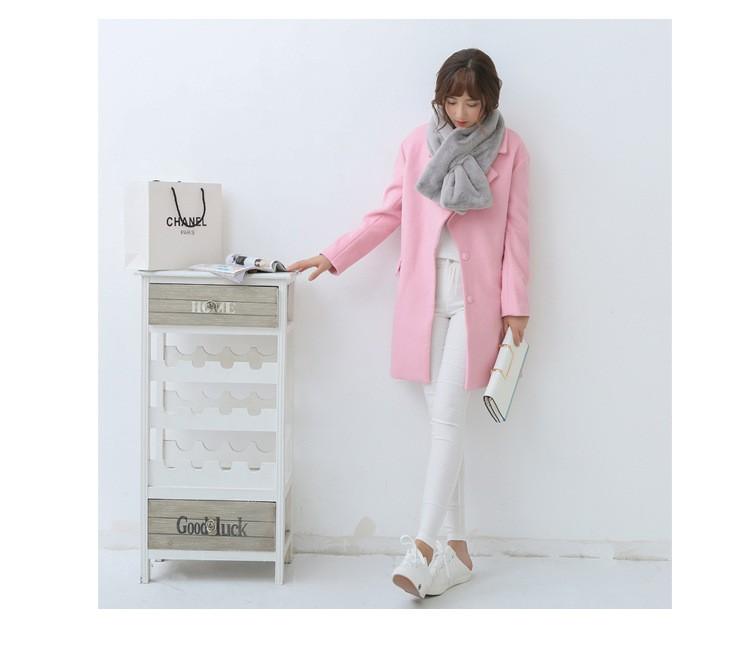 Korea autumn and winter new solid color winter warm plush scarf  women female fur collar fashion collar scarf luxury brand