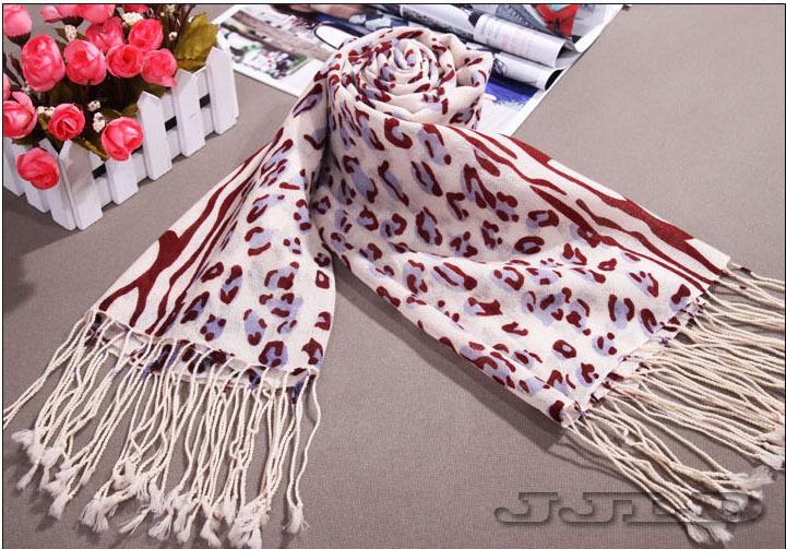 20ps/Lots Brown 100% mercerized wool cashmere Women's Flect pattern Long Scaves shawl #18(China (Mainland))