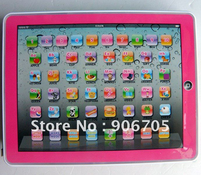 Free shipping,Y-Pad English Learning Machine,Y PAD Learning Toys For Kids,Pink and Blue Mixed,Music and Led Light,24PCS/Lot(China (Mainland))