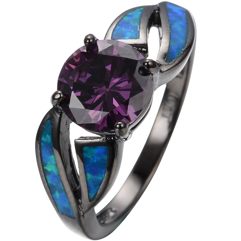 Fashion Black Gold Filled 10KT purple Amethyst Blue Fire Opal Round Rings For Women Ladies Gift Wedding Jewelry #6/7/8/9(China (Mainland))