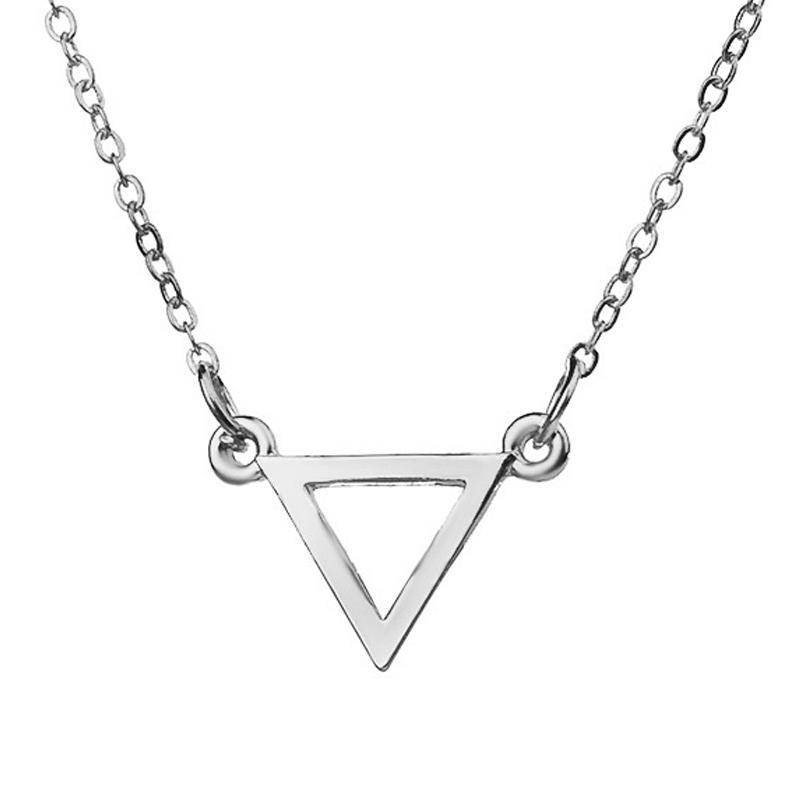 Hot Sale Balance Triangle Gold Silver Plated Pendant Necklace Sample Clavicle Chains Fashion Statement Necklace Women Jewelry(China (Mainland))
